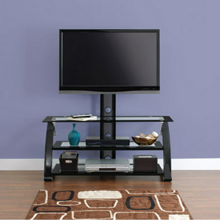 Spar Glass and Metal TV Stand for TVs up to 65  The Spar Glass and Metal TV Stand is designed for TVs up to 65  and 150 lb. It features three glass shelves that provide ample space to hold your components, games, DVDs, CDs and more. The 3-shelf TV stand is also constructed with a solid powder-coated metal frame for long-term durability and stability. It's both sophisticated and stylish in the looks department. The modern TV stand is functional with most TV accessories and will enhance the decor in any room. It also features wire management design that tucks your wires away, creating a clean and neat look. The Spar Glass and Metal TV Stand for TVs up to 65  has tempered glass for safety.