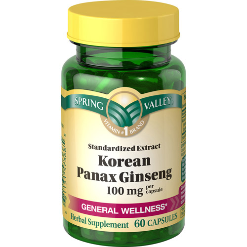 Spring Valley Korean Panax Ginseng Herbal Supplement, 100 mg, 60 capsules