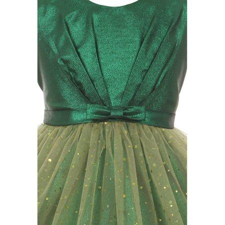 Kids Dream Little Girls Green Bodice Bow Sparkle Tulle Occasion Dress 6 - Green Girl Dresses