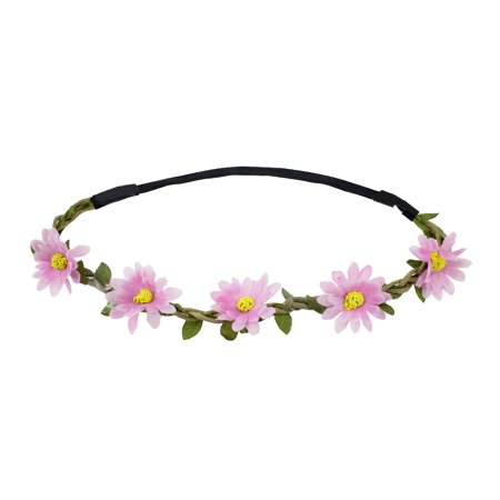Stylish Womens Girls Bohemian Artificial Floral Elastic Headband (2 pack, Pink Daisy) ()