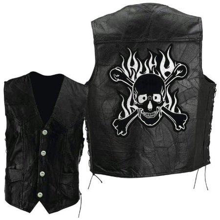Diamond Plate Rock Design Genuine Buffalo Leather Motorcycle Vest with Skull and Crossbones Embroidered Patch Size Large Diamond Plate Motorcycle Jacket