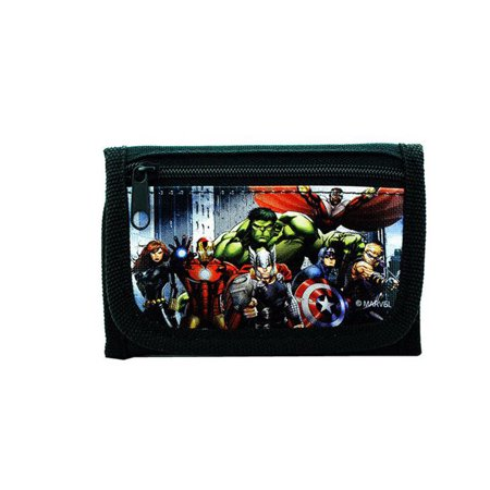 Quiksilver Black Wallet (Avengers Wallet for Boys Superheroes Kids Wallets Trifold Coin Zip Pocket black)