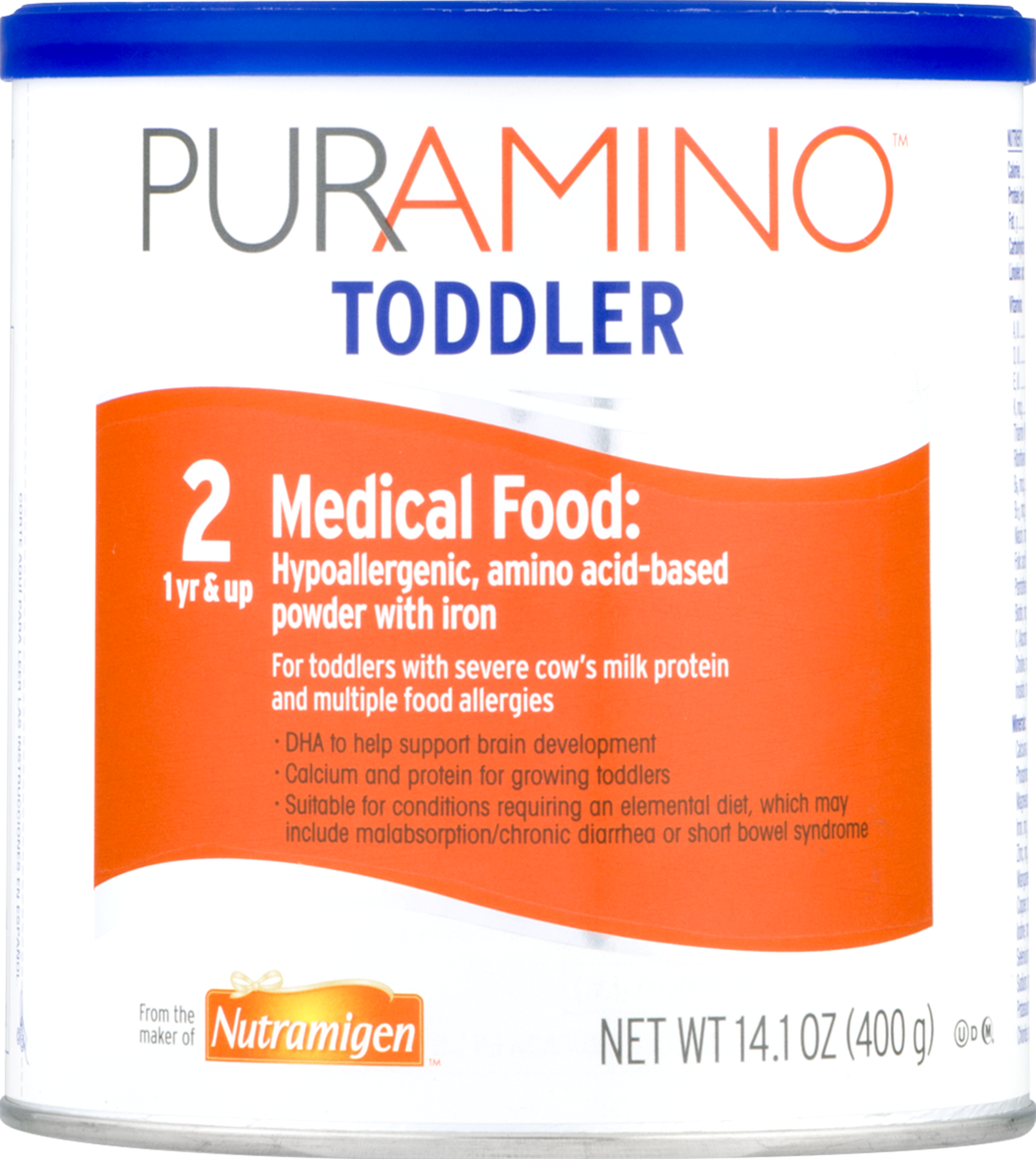 PurAmino Toddler Hypoallergenic Amino Acid Based Powder with Iron, 14.1 oz Can