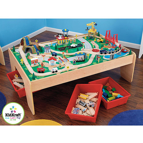 Wooden Activity Table with 45-Piece Train Set & Storage Bin Only At ...