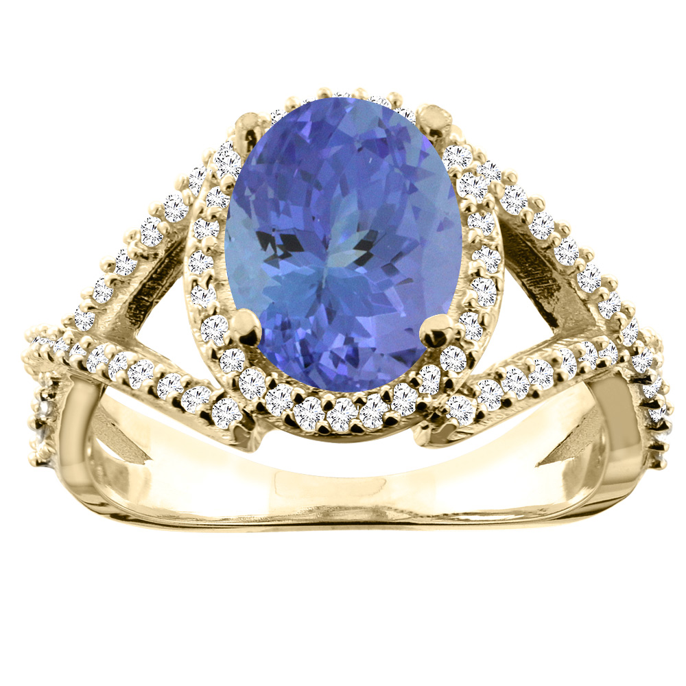 10K Yellow Gold Natural Tanzanite Ring Oval 10x8mm Diamond Accent, size 6.5 by Gabriella Gold
