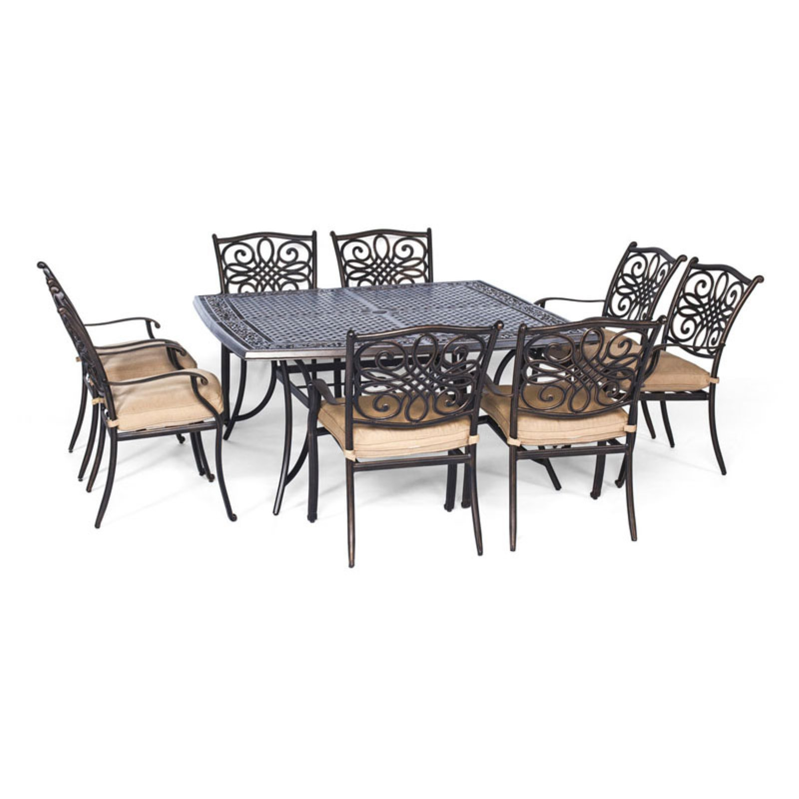 Hanover Outdoor Traditions 9-Piece Dining Set with Large Square Table, Natural Oat/Bronze