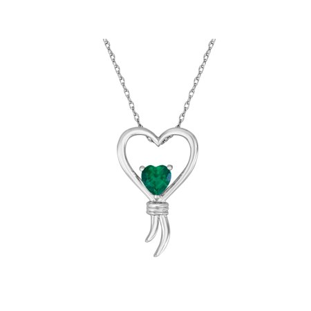Knots of Love Sterling Silver Lab-Created Emerald Heart Pendant, 18