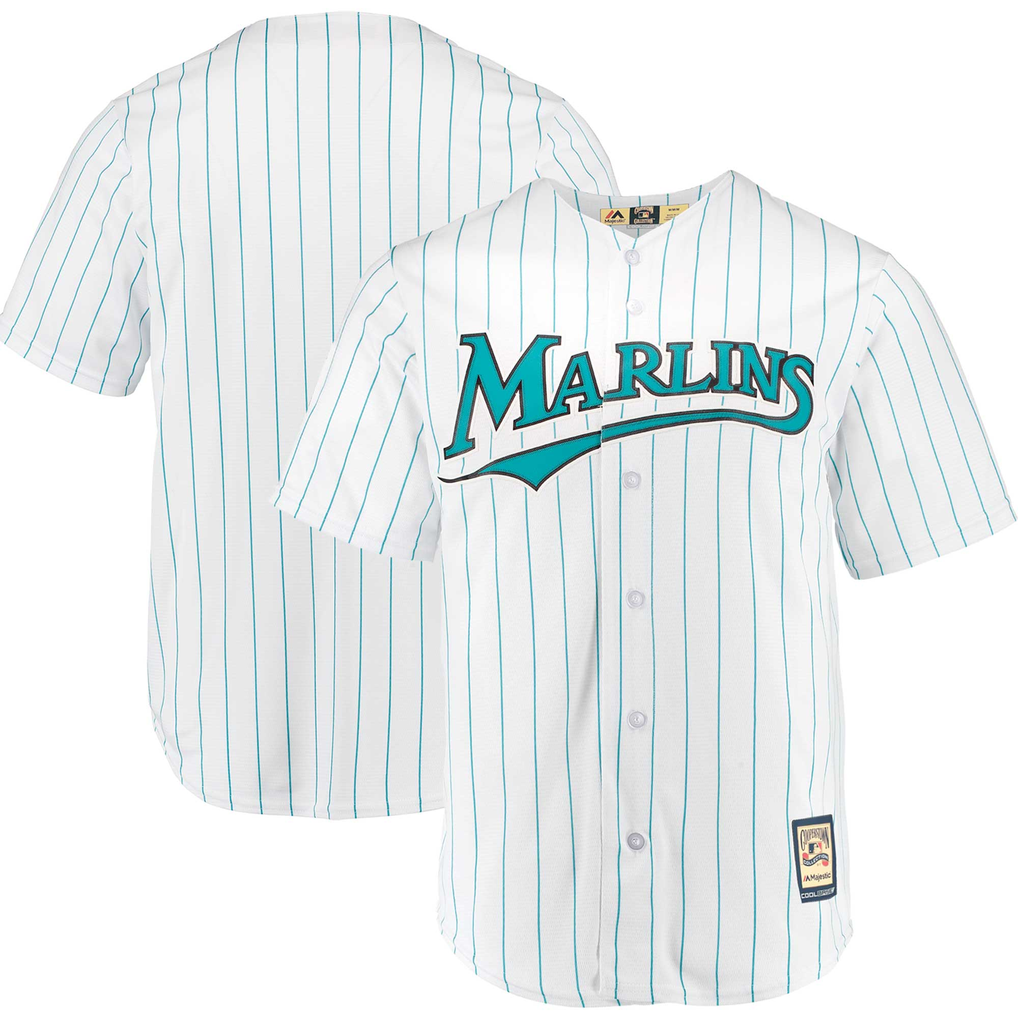 Miami Marlins Majestic Home Cooperstown Collection Team Cool Base Jersey - White/Aqua