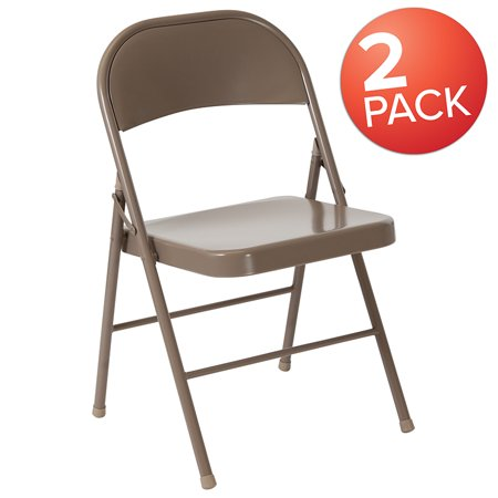 Phenomenal 2 Pack Double Braced Beige Metal Folding Chair Machost Co Dining Chair Design Ideas Machostcouk