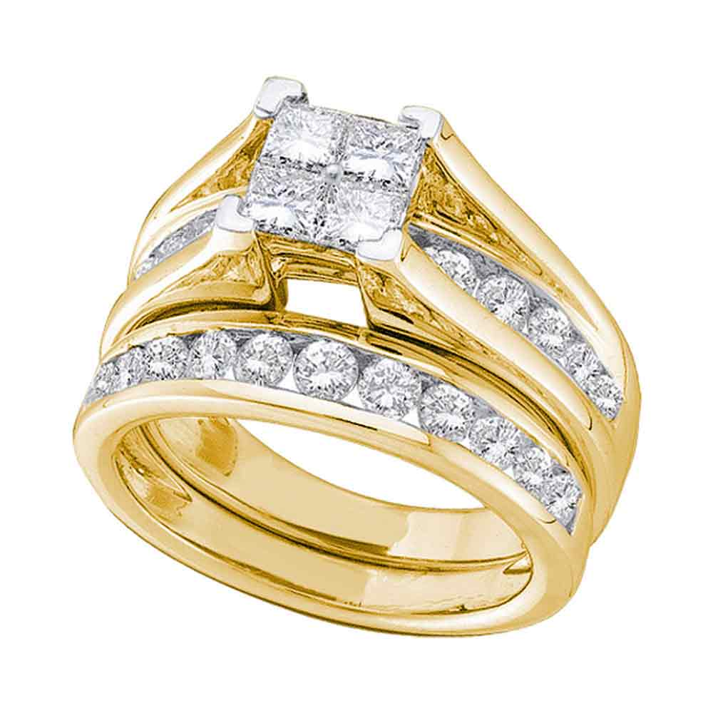 10kt Yellow Gold Womens Princess Diamond Bridal Wedding Engagement Ring Band Set (.50 cttw.) by Mia Diamonds