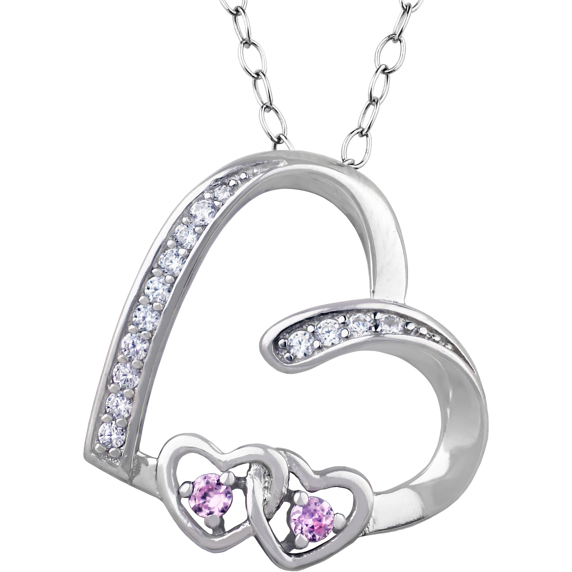 Truly Radiant Pink CZ Sterling Silver Heart Pendant Necklace, 18""