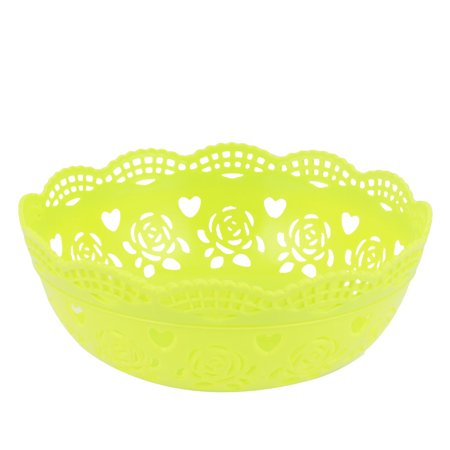 Unique Bargains Round Plastic Bamboo Pattern Fruit Apple Pear Container Plate Tray Green
