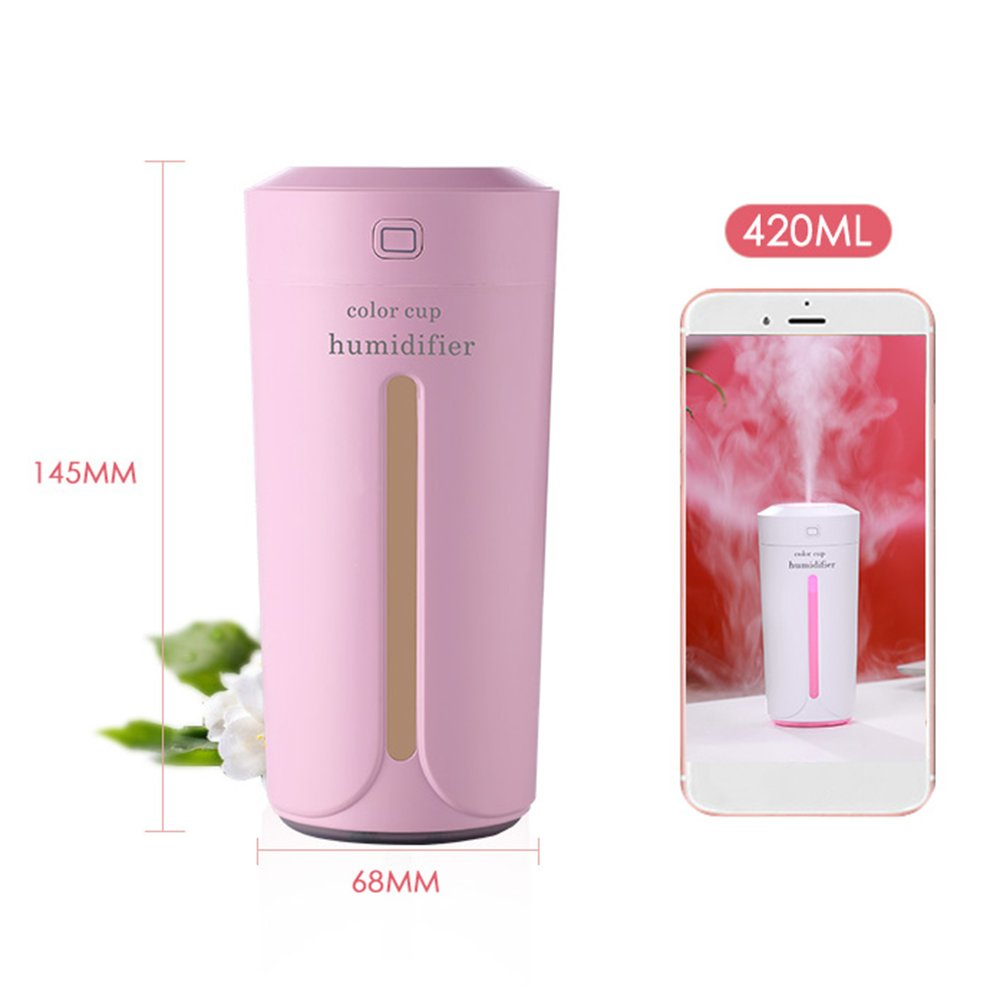 Gray Home Household Humidifier Mini Cup Shape Air Humidifier Usb Charging Colorful Night Light Mist Maker