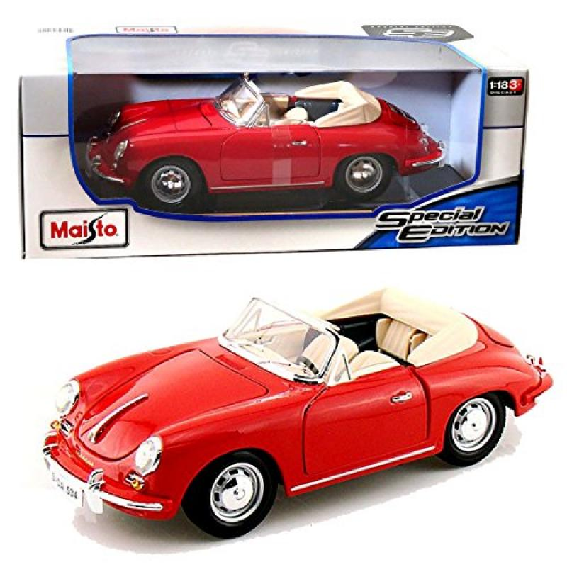 Maisto Year 2014 Special Edition Series 1:18 Scale Die Cast Car Set Red Color Roadster 1961 PORSCHE 356B... by