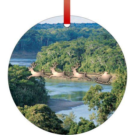 Santa and Sleigh Over the Amazon Rainforest Flat Round - Shaped Christmas Holiday Hanging Tree Ornament Disc Made in the U.S.A.