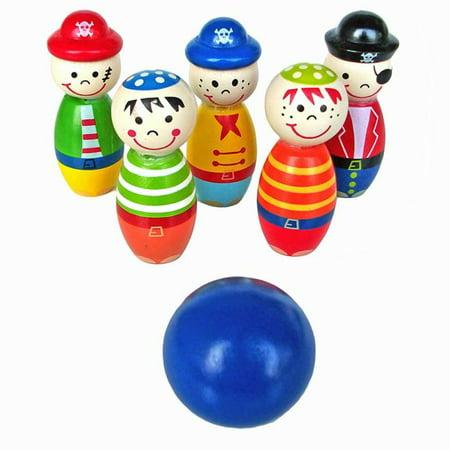 Children Toys Wooden Bowling Ball Skittle Funny Shape for Kids