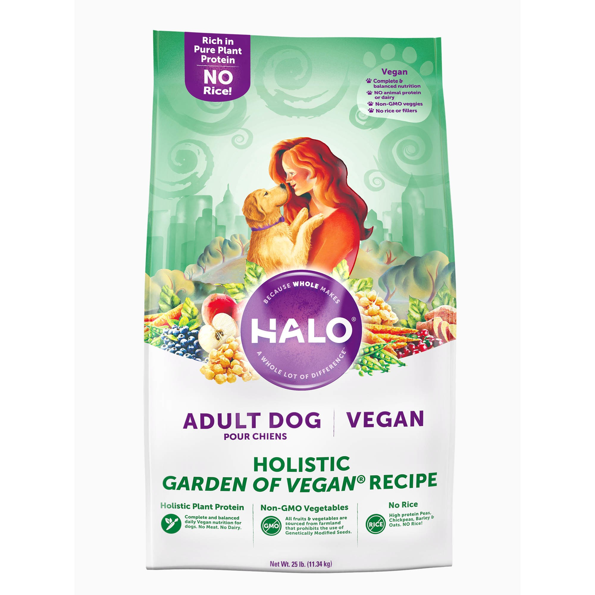 Halo Vegan Dry Dog Food, Garden of Vegan Recipe, 25Lb. Bag