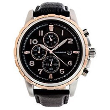 Patri By Conqueror Mens Modern Chronographic Gold Features Black Leather Strap