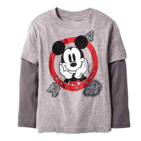 Disney Infant Toddler Boys Mickey Mr Right Valentine Long Sleeve T-Shirt Tee