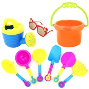lzndeal 9Pcs Kids Sand Beach Toys Castle Bucket Spade Shovel Rake Water Tools Sunglasses