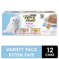 Fancy Feast Grain Free Pate Wet Kitten Food Variety Pack, Kitten Classic Pate Collection Chicken & Salmon - (12) 3 oz. Cans