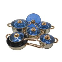 12 Piece Gourmet Stainless Steel & Copper Cookware Pots & Pans Nonstick Sauté Pan & Blue Glass Lids Encapsulated Bottom with Liquid Measurement Marks