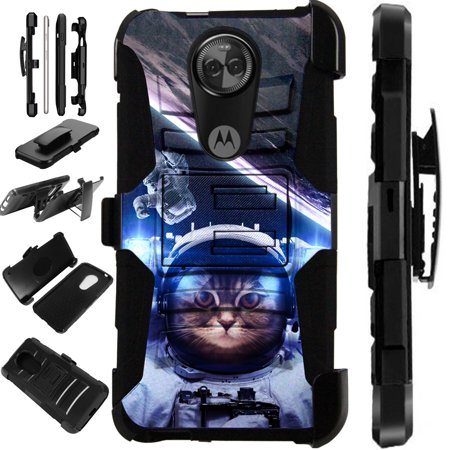 new styles 2a0ad 6e15a For Motorola Moto G6 Play | Moto G6 Forge Case Armor Hybrid Silicone Cover  Stand LuxGuard Holster (Space Cat)