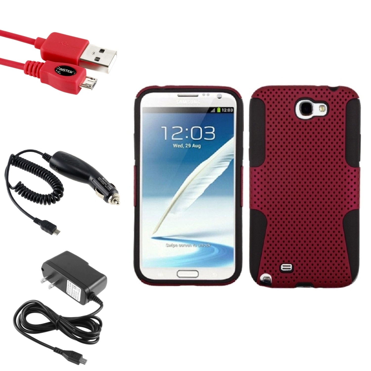 Insten Black/Red Hybrid Case Car Wall Charger 3X USB Cable For Samsung Galaxy Note 2