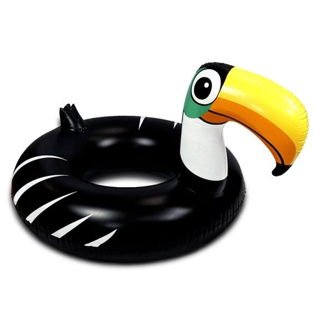 Large Tube (Cota Global Inflatable Pool Float Large Toucan Shape Party Tube Ring Accessory 49 Inches, Premium Elegant Heavy Duty Vinyl Flotation Pool Toy, For the Beach, Party, Vacation, UV Resistant)