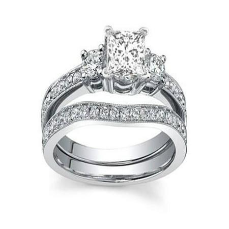 e330e95b334 JeenJewels - Intriguing Three Stone Diamond Bridal Set 1 Carat Princess Cut  Diamond on 10k Gold - Walmart.com