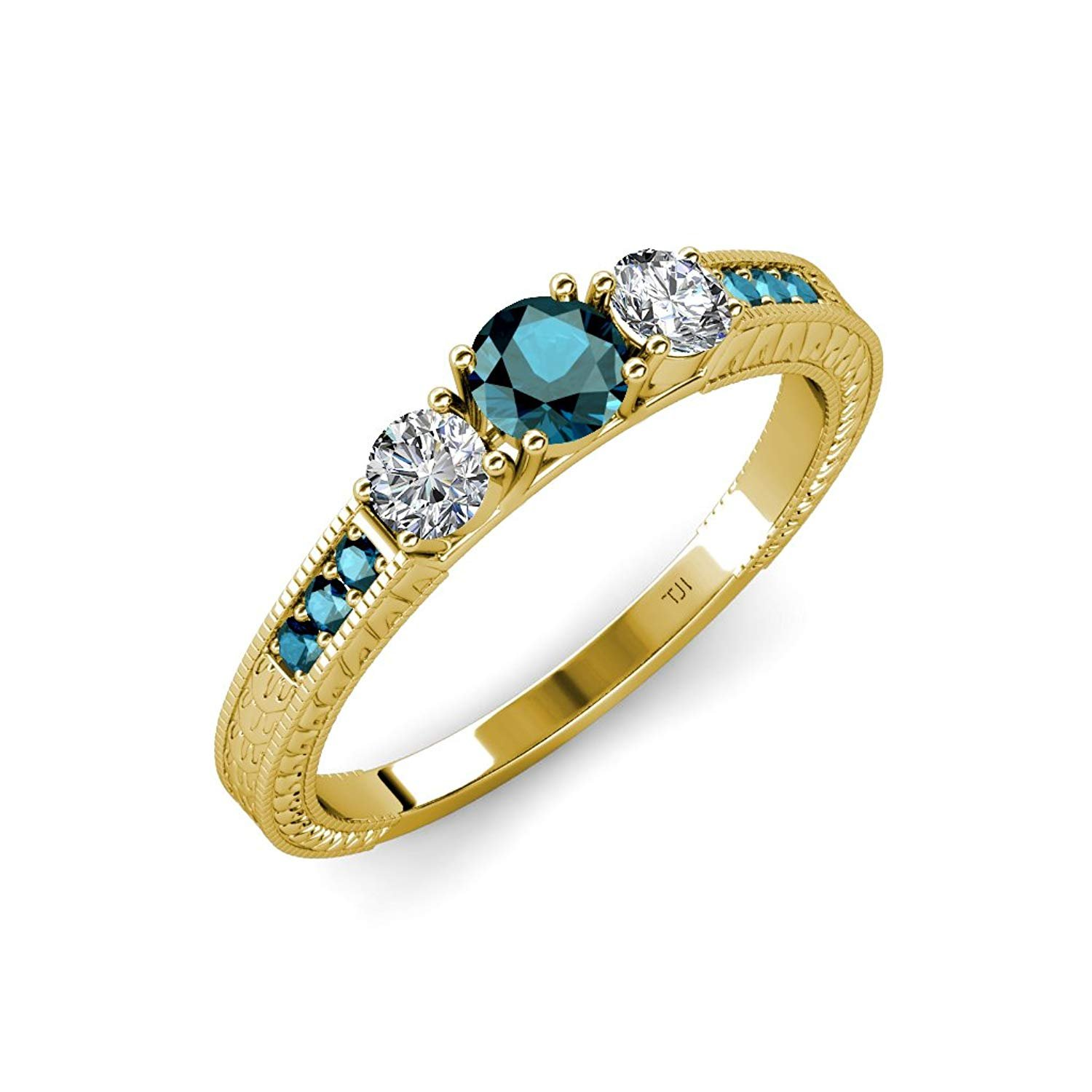 Blue and White Diamond 3 Stone Ring with Side Blue Diamond 0.85 ct tw in 14K Yellow Gold.size 8.0 by TriJewels