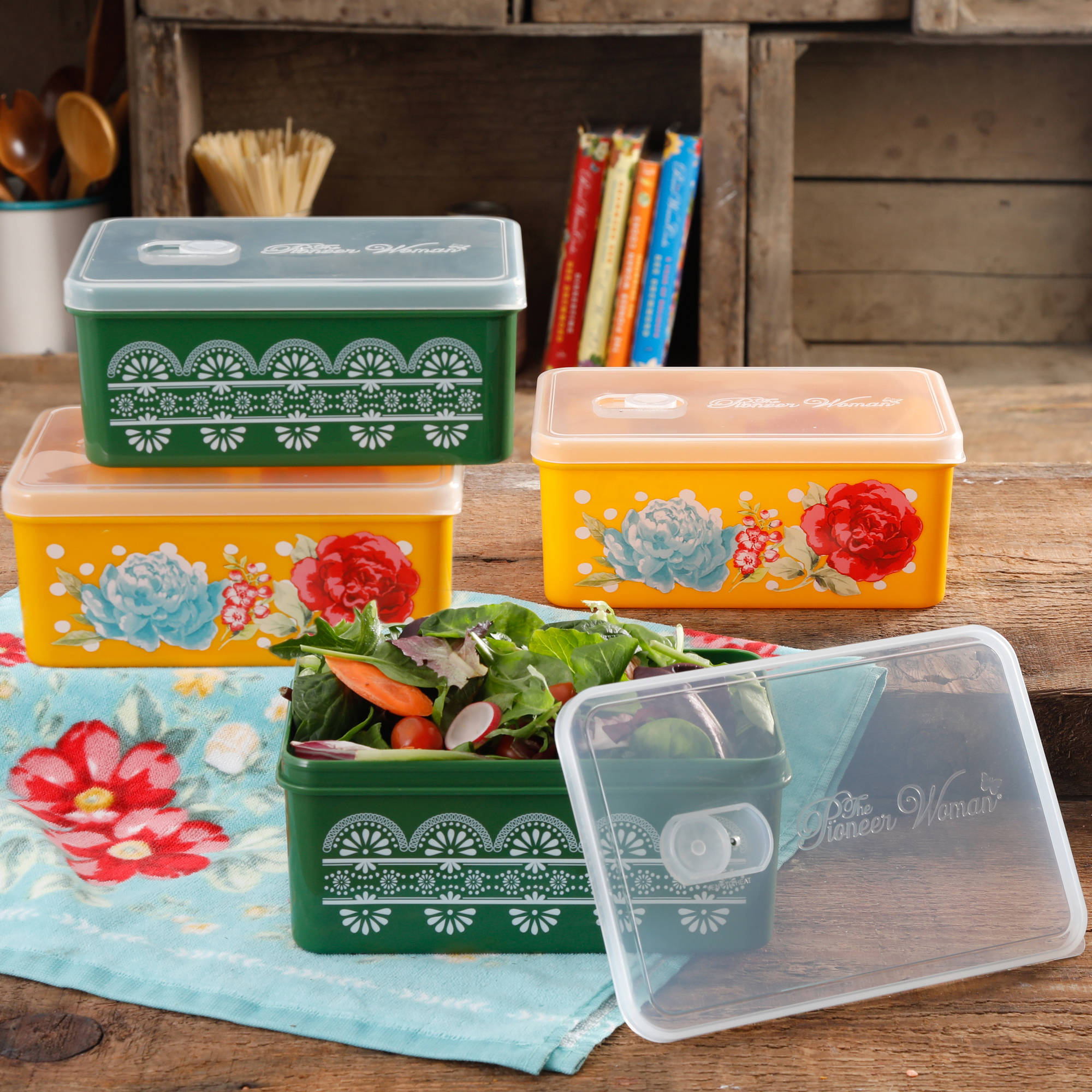 The Pioneer Woman Blossom Jubilee Rectangular Large Food Storage Container  Set With Vent, Set Of
