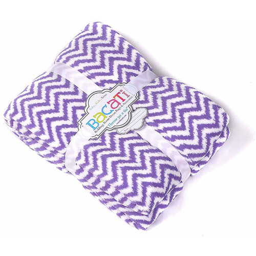 Bacati - Ikat Zigzag 50 x 60 inches Plush Throw as extra layer for your toddlers bed