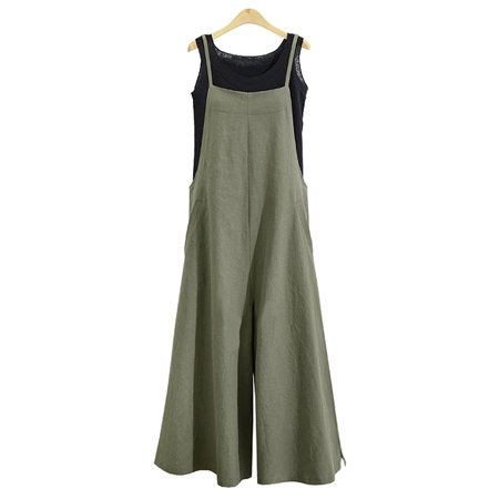 Women Long Suspender Bib Casual Loose Solid Jumpsuit - Ted Jumpsuit