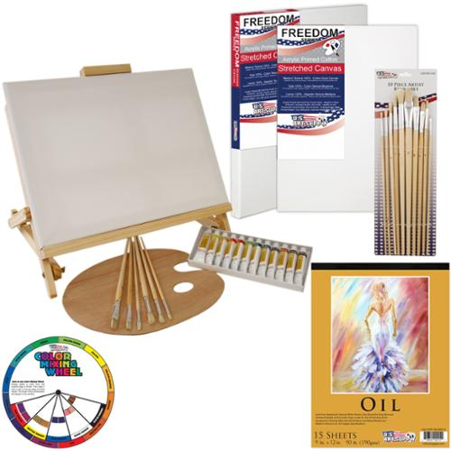 "US Art Supply® 35-Piece Oil Painting Table Easel Set with, 12-Tubes Oil Painting Colors, 3-each 11""x14"" Stretched Canvas"