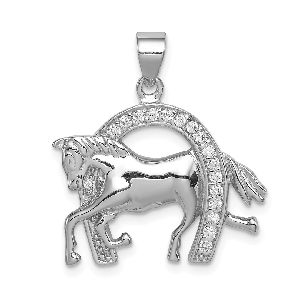 Sterling Silver Horse & Horseshoe CZ Pendant.