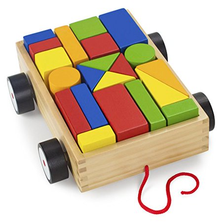 Imagination Generation Take-Along Building Block Wagon | Classic Wood Toy ()