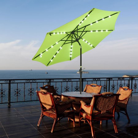 Yescom 9' Outdoor Patio Aluminium Umbrella 32 Solar Powered LED Crank Tilt UV30+ 180g Cover Top Beach Deck ()