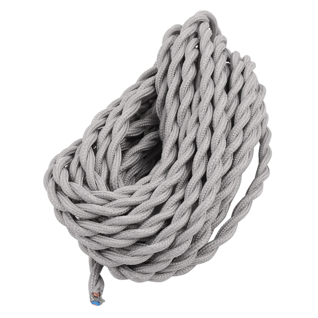 Unique Bargains 5m 2 Wire Gray Cloth Covered Round Cord Vintage Wiring A Lamp Knot Lamps Pendant Vde Certificated