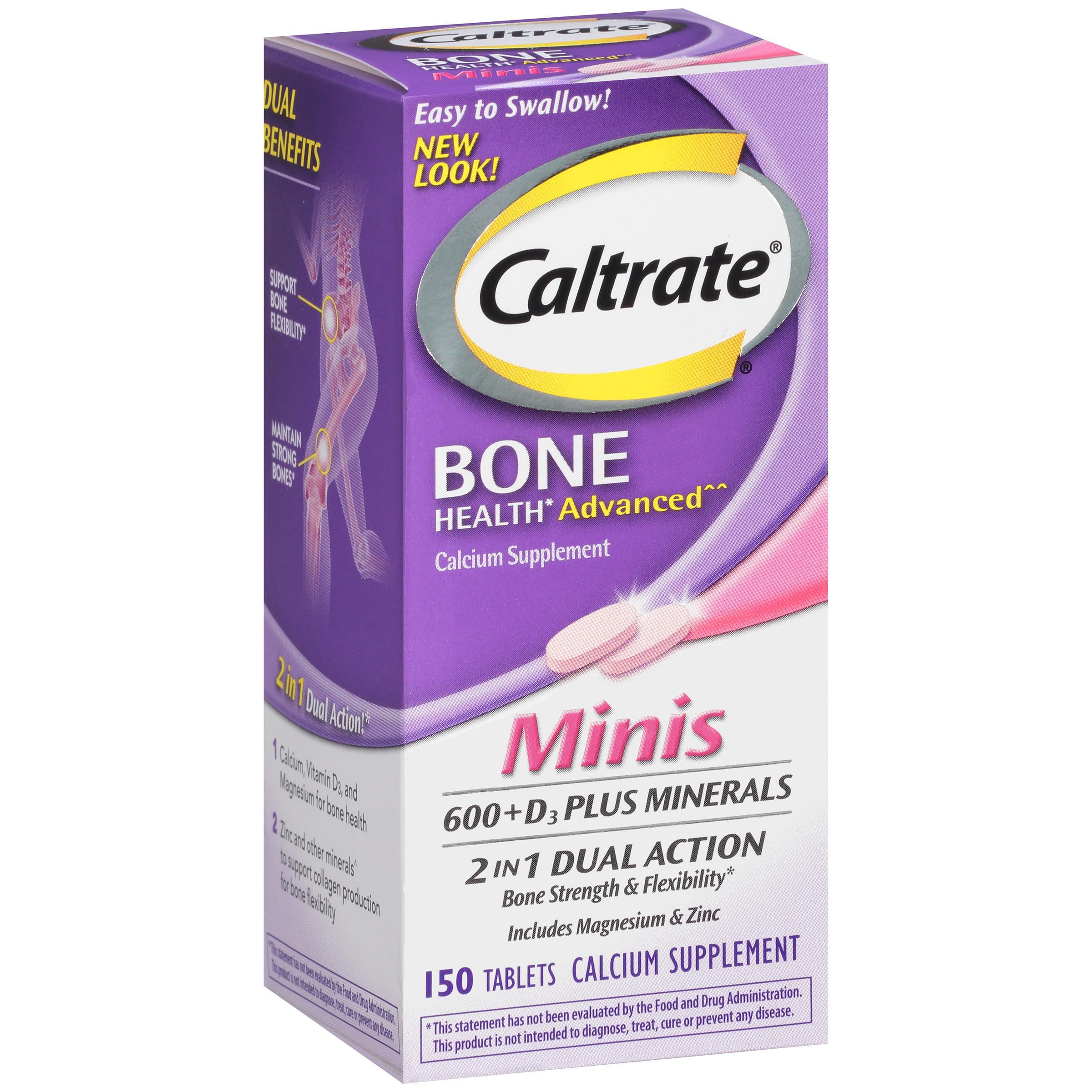 Caltrate Bone Health Advanced 600+D3 plus Minerals Calcium Mini Tablets, 150 Ct