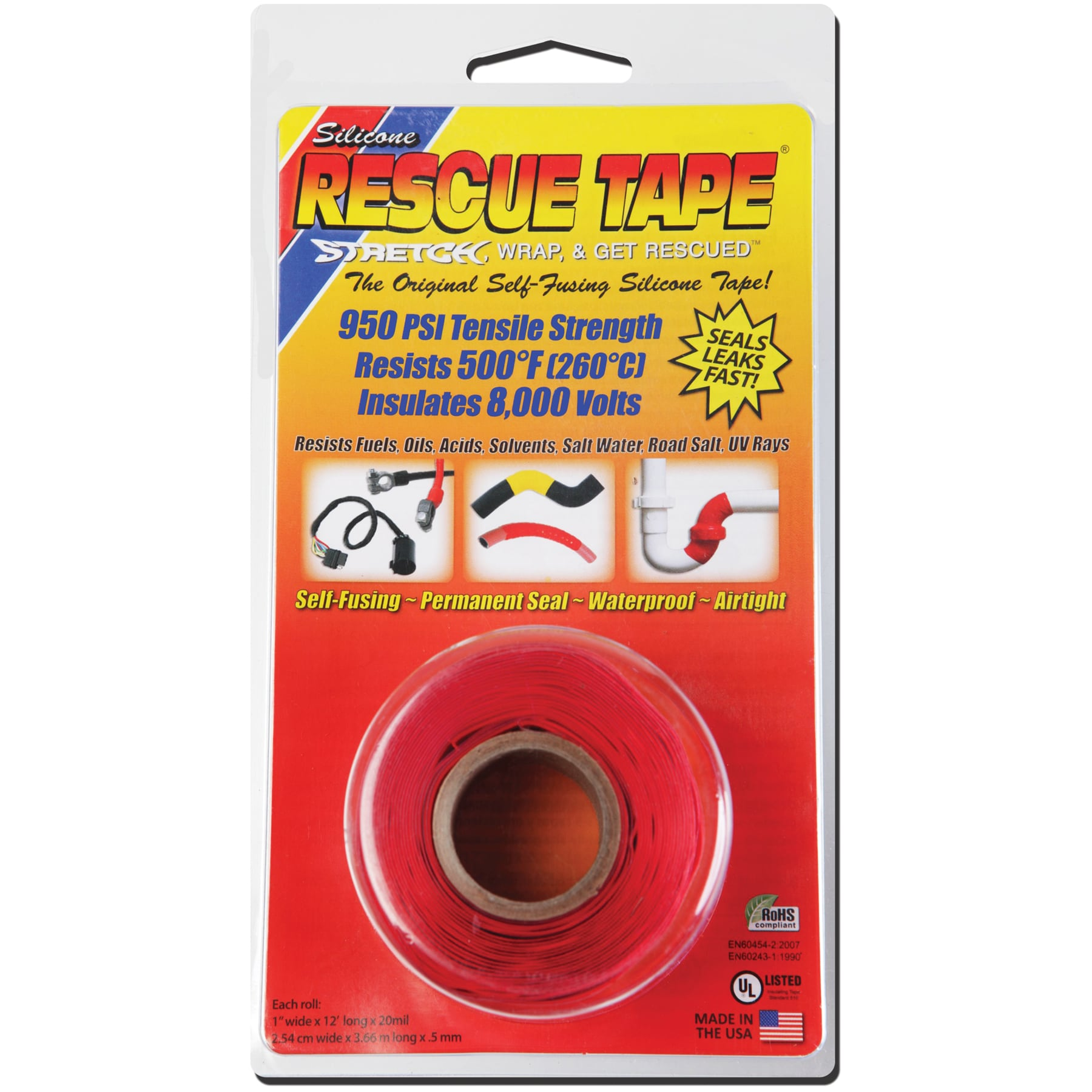 "Harbor USC02 Rescue Tape 1""x12''x20mm Silicone Red"