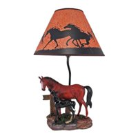 Brown Mare and Foal Horse Table Lamp w/ Shade