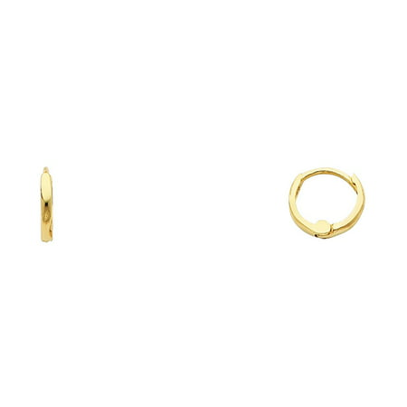 14k Solid Italian Yellow Gold Plain 1.5 mm Small Huggies Hoop Earrings 8 mm Diameter