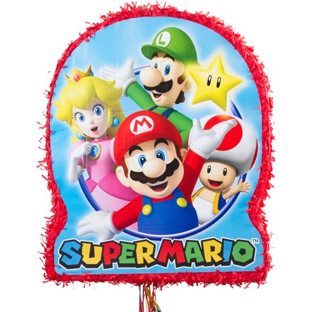 Super Mario Brothers Pull String Pinata - Mario Brothers Decorations