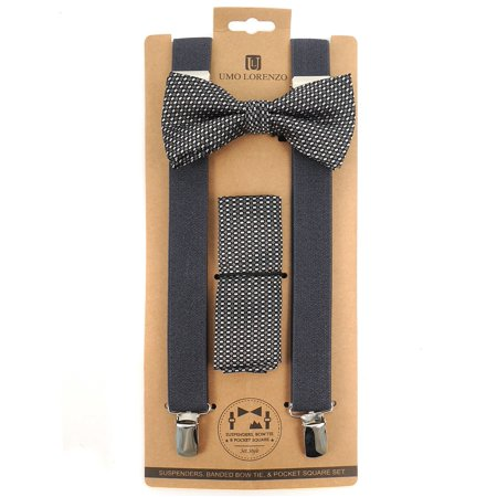 8a7ab19f6cdf 3pc Men's Charcoal Banded Suspenders, Geometric Bow Tie and Hanky Sets -  Walmart.com