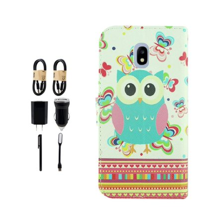 ~Value Pack~ For Samsung Galaxy J7 (2018)/ J7 Refine/ J7 Star/ J7V 2nd Gen. /J737 Fold Wallet Kickstand Phone Case Owl Butterfly ()