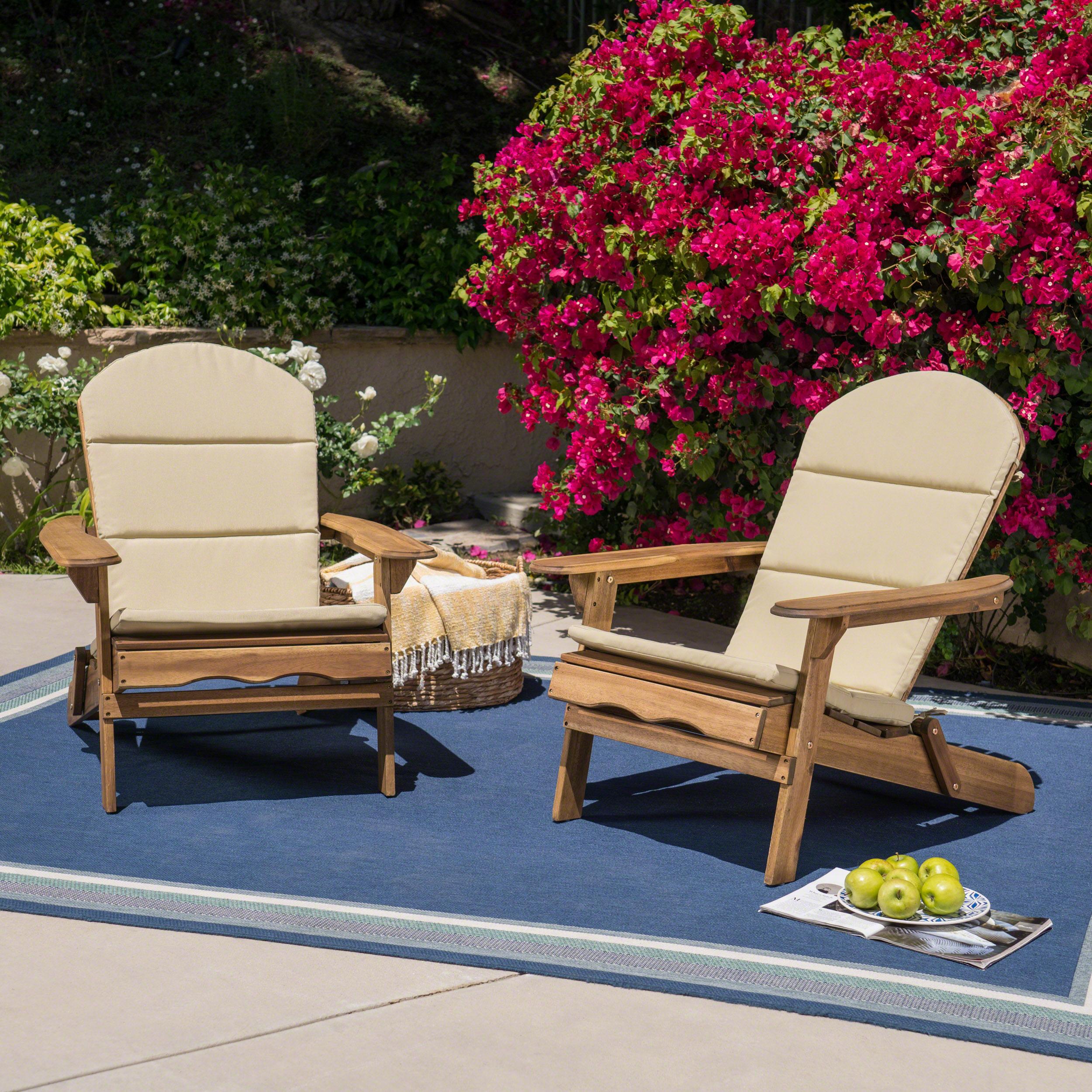 Mimi Outdoor Acacia Wood Adirondack Chairs with Cushions, Natural, Khaki