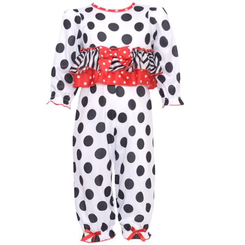 Laura Dare Baby Girls Black White Dot Zebra Stripe Bow 2 Pc Pajama Set 12-24M