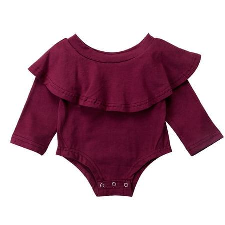 e106728ea823 Gaono - Infant Baby Girl Romper Twins Long Sleeve Jumpsuit Off-Shoulder  Ruffled Newborn Bodysuit Outfit Clothes - Walmart.com