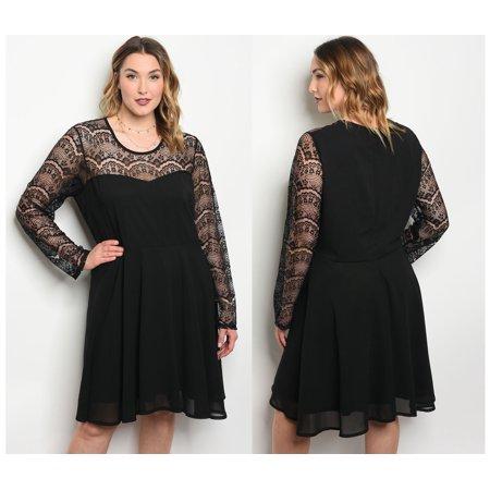 Jed Fashion Jed Fashion Womens Plus Size Long Sleeve Lace Little